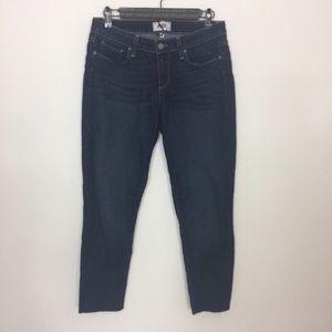 Paige Jeans Kylie Crop in medium wash. Frayed hem